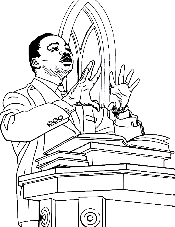 Martin Luther King Sermon Coloring Page