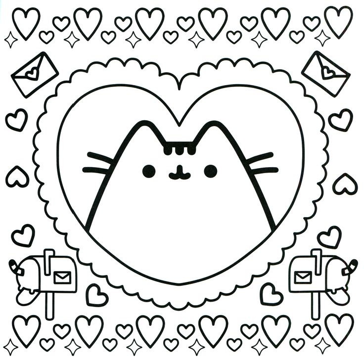 Pusheen Valentine Coloring Page