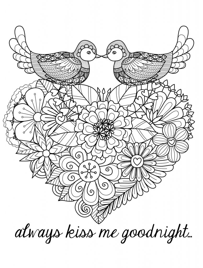Valentine Coloring Pages - Birds and Heart