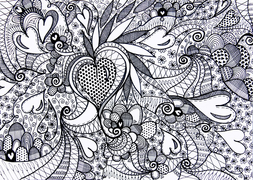 Valentine Coloring Pages - Complex Heart Collage