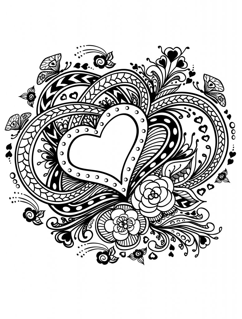 Valentine Coloring Pages - Hearts Image