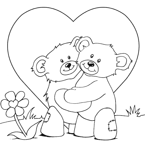 Valentine Coloring Pages - Hugging Bears