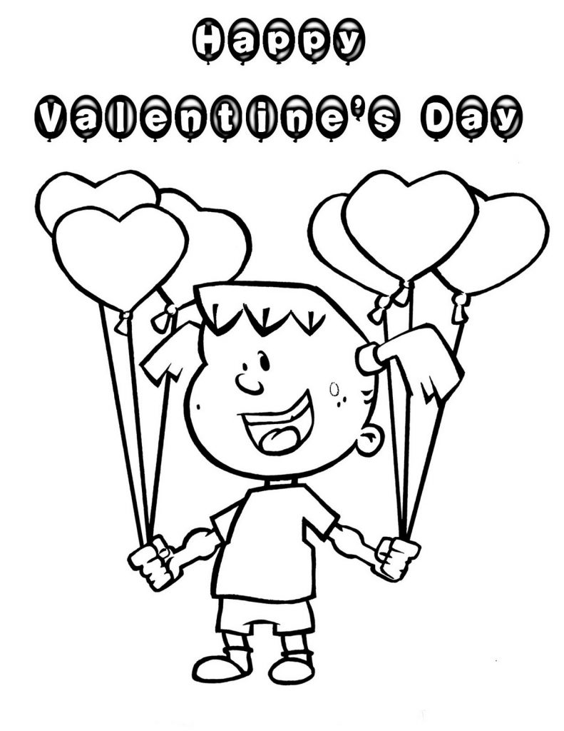 Valentine Coloring Pages - Little Girl