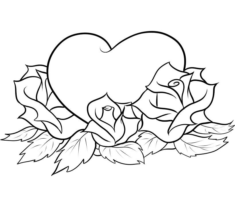 Valentine Coloring Pages - Roses and Heart