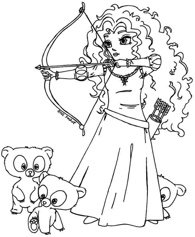 Perfect Brave Coloring Pages Merida And Brothers