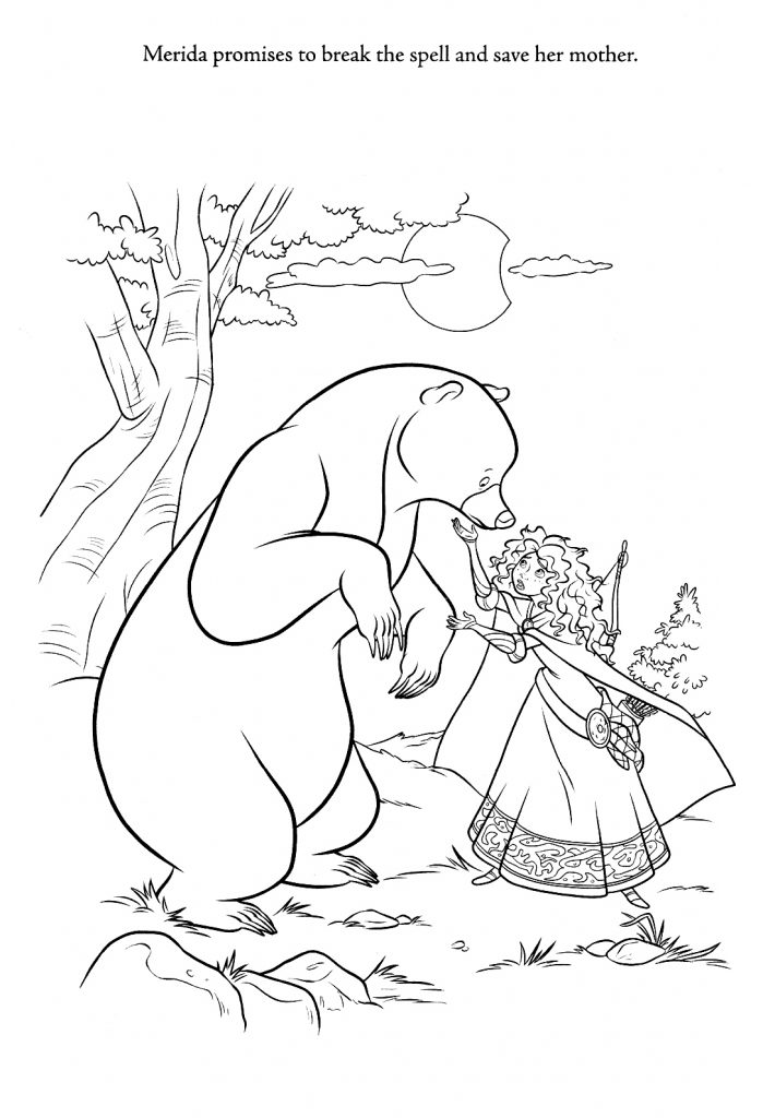 Brave Coloring Pages - Merida and Mother Bear