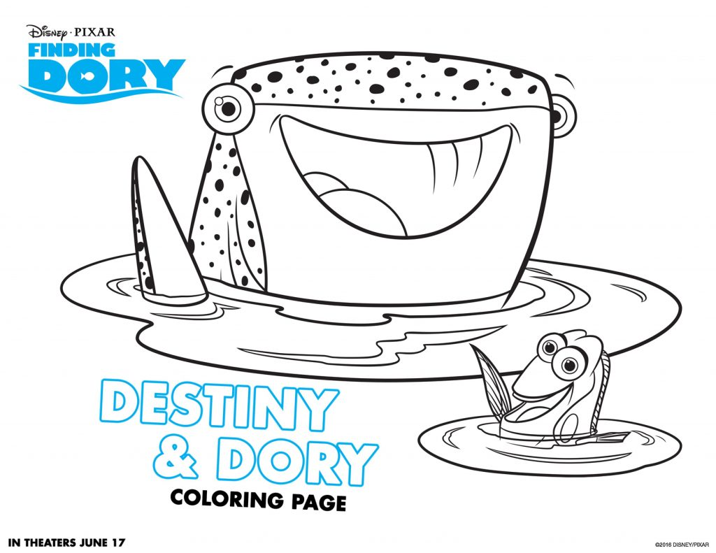Destiny and Dory Coloring Page
