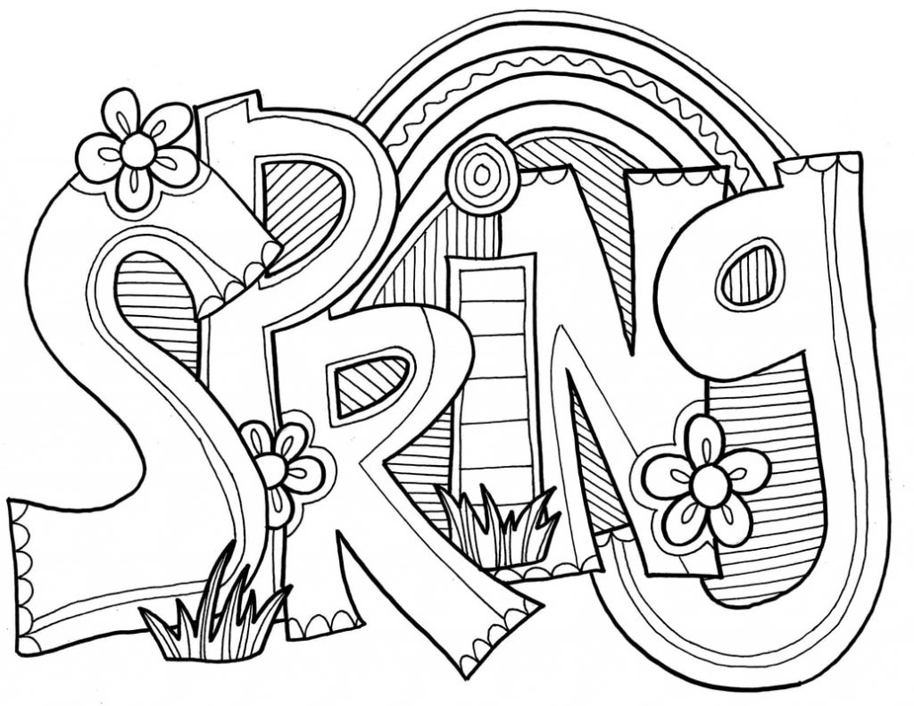 Spring Coloring Page Printable Words