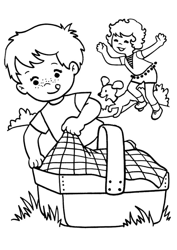 Spring Coloring Pages Picnic