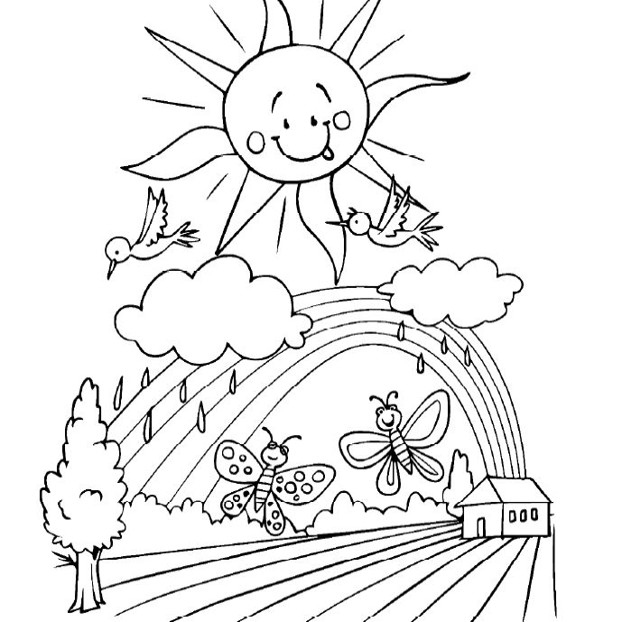 spring scene coloring pages - photo#21