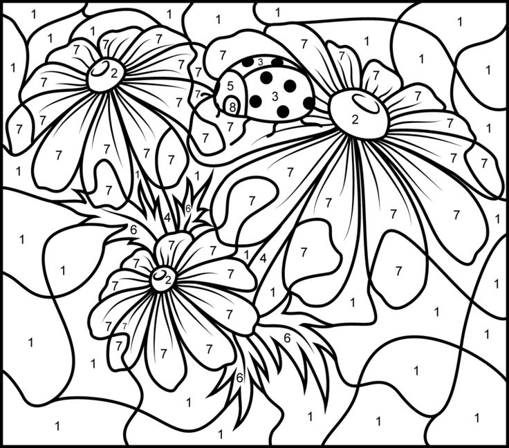 Adult color by numbers best coloring pages for kids for Printable color by number pages