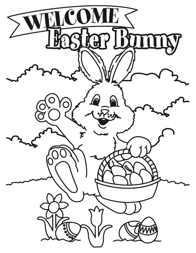 Easter Bunny with Basket Coloring Pages