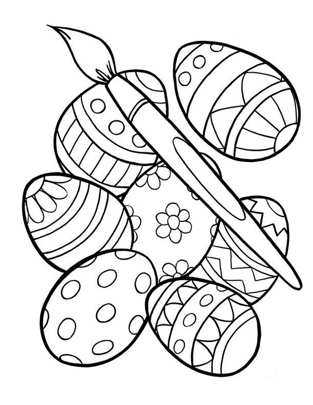 Easter Coloring Pages Painting Eggs on christian easter egg coloring pages