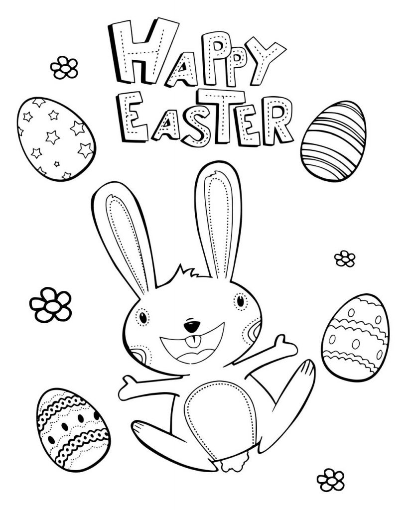 Happy Easter Bunny With Eggs Coloring Page