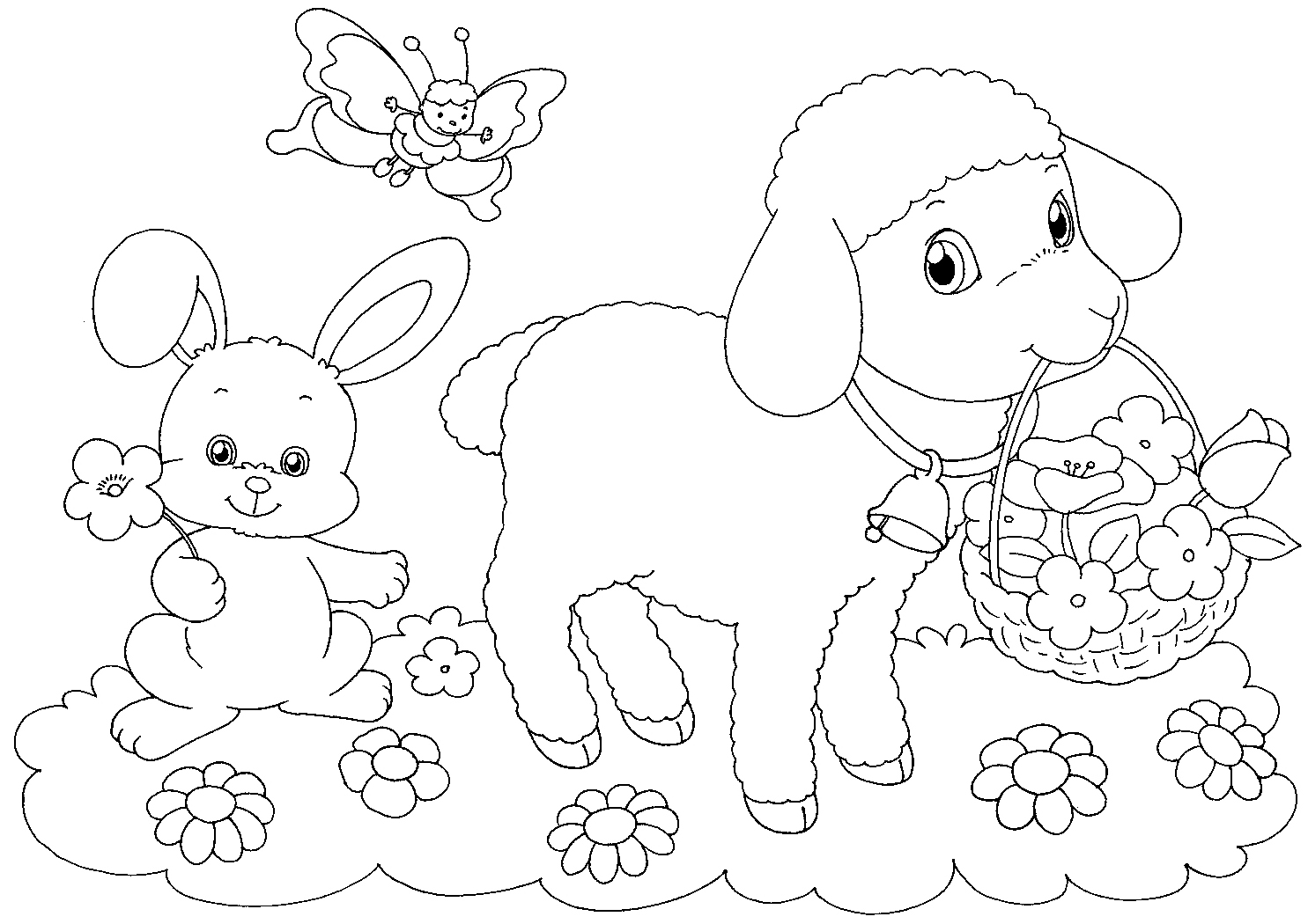 Lamb With Easter Basket Coloring Page