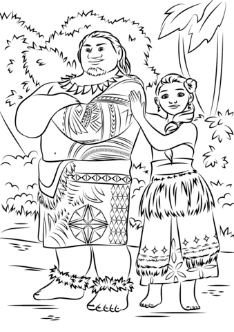 Moana Coloring Pages - Tui and Sina