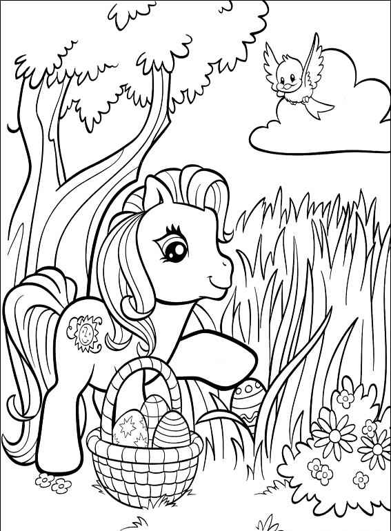 My Little Pony Easter Basket Coloring Page