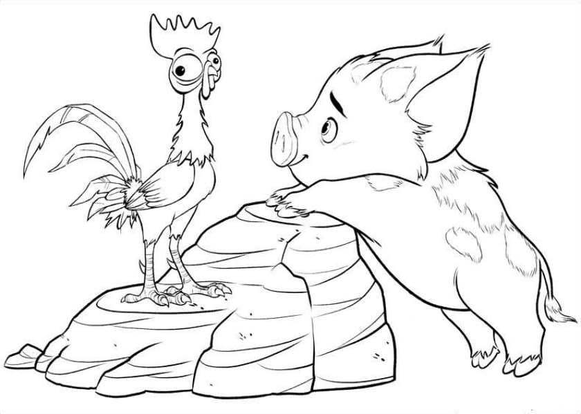 Pua and Hei Hei - Moana Coloring Pages