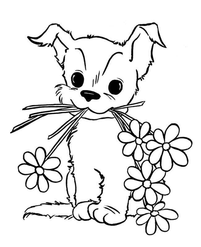 Puppy with flowers Coloring Pages