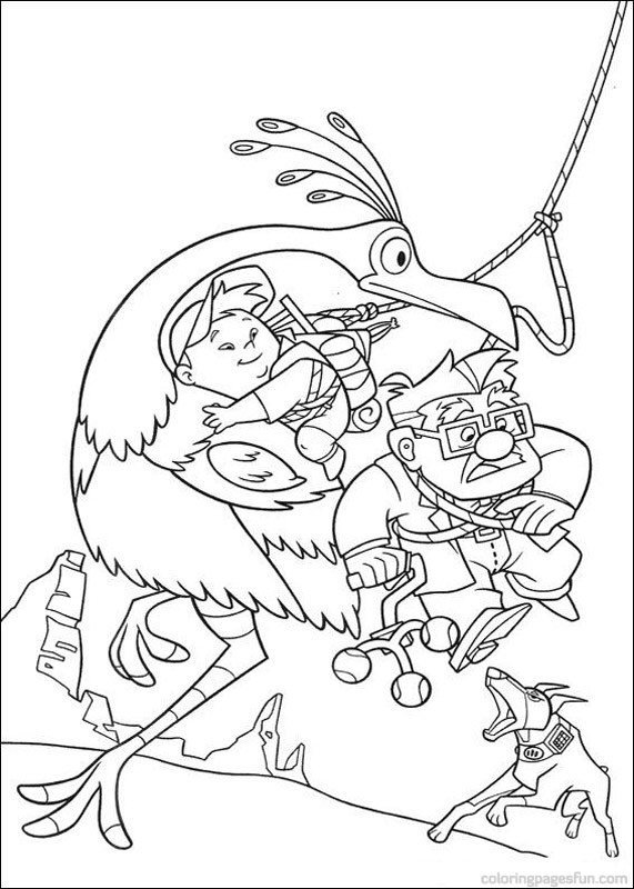 Up Coloring Pages Carl and Russell Escape