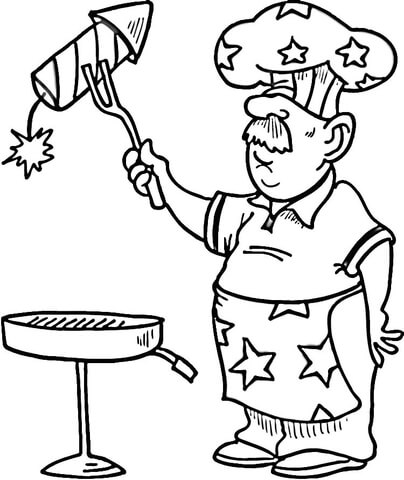 4th of July Coloring Page BBQ