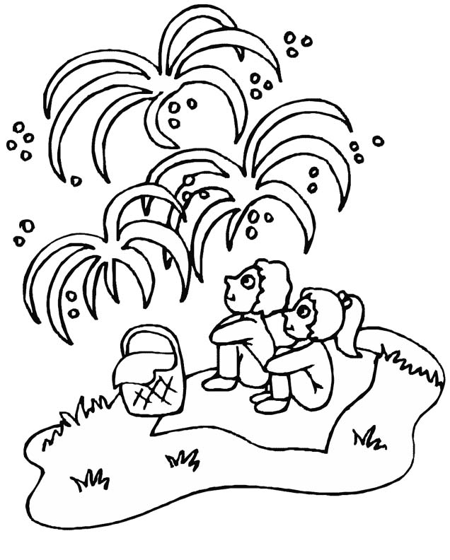 4th of July Coloring Pages Watching Fireworks