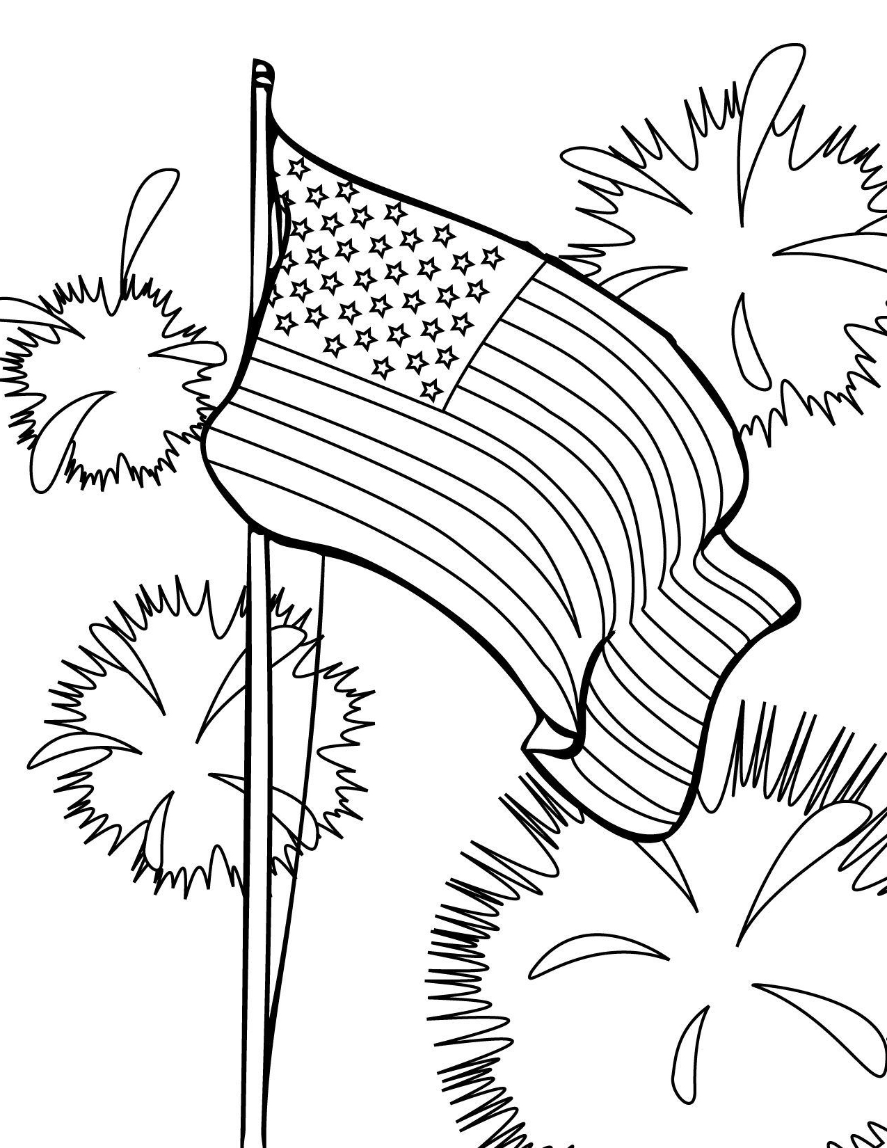 4th of july patriotic heart coloring pages - Hellokids.com | 1650x1275