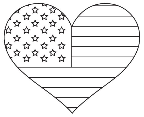 American Flag Coloring Pages Heart
