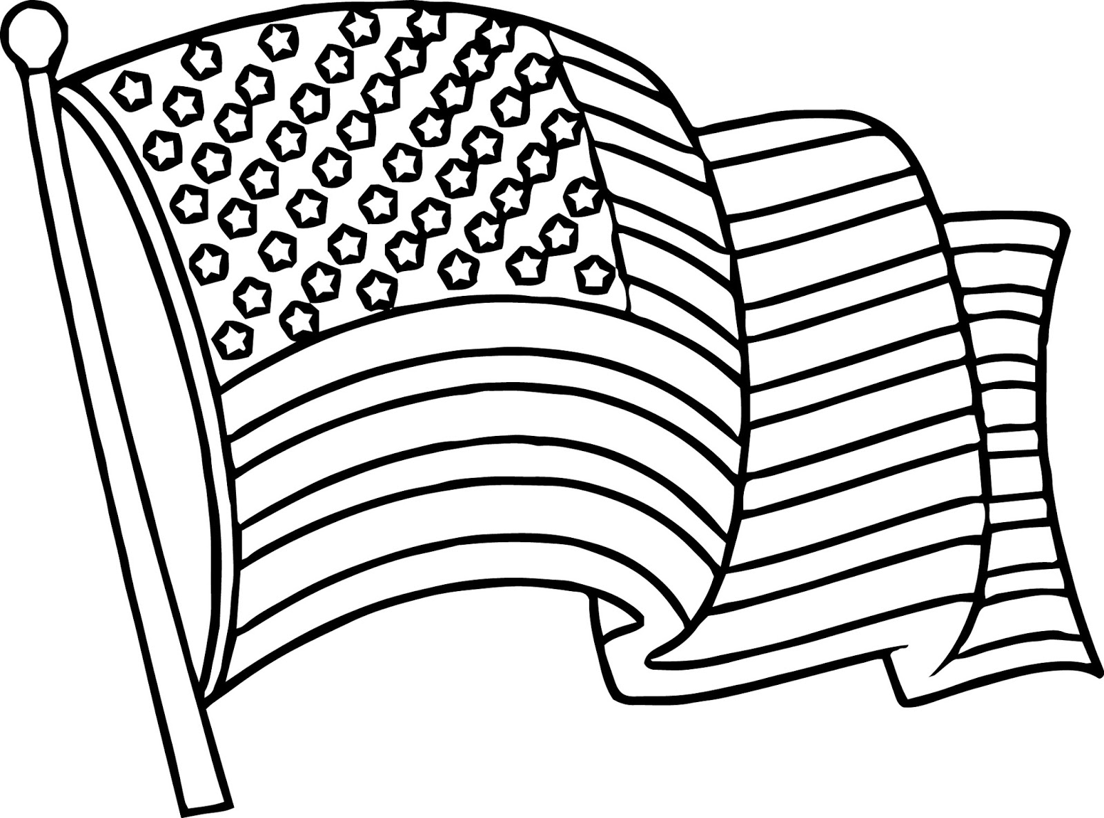 Waving American Flag Coloring Pages