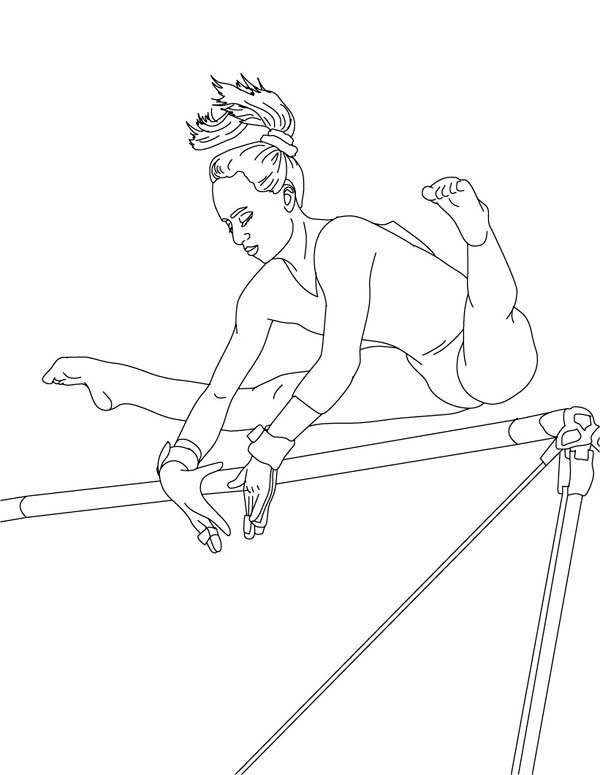 Gymnastics Coloring Pages High Bar