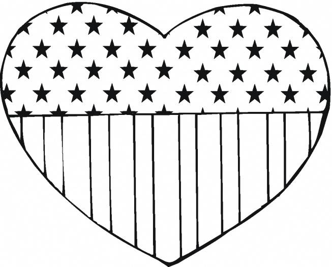 Heart American Flag Coloring Pages