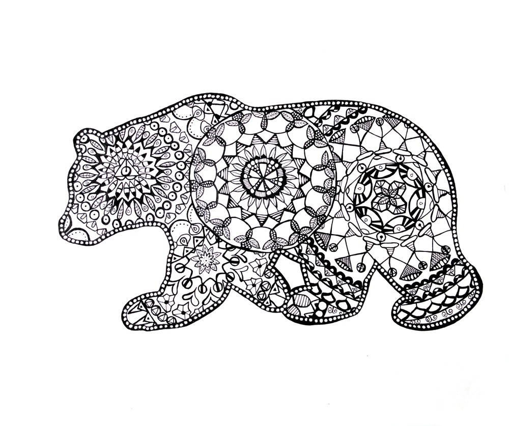 Animal coloring pages for adults best coloring pages for for Free bear coloring pages