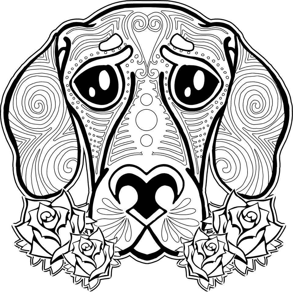 Animal coloring pages for adults dog
