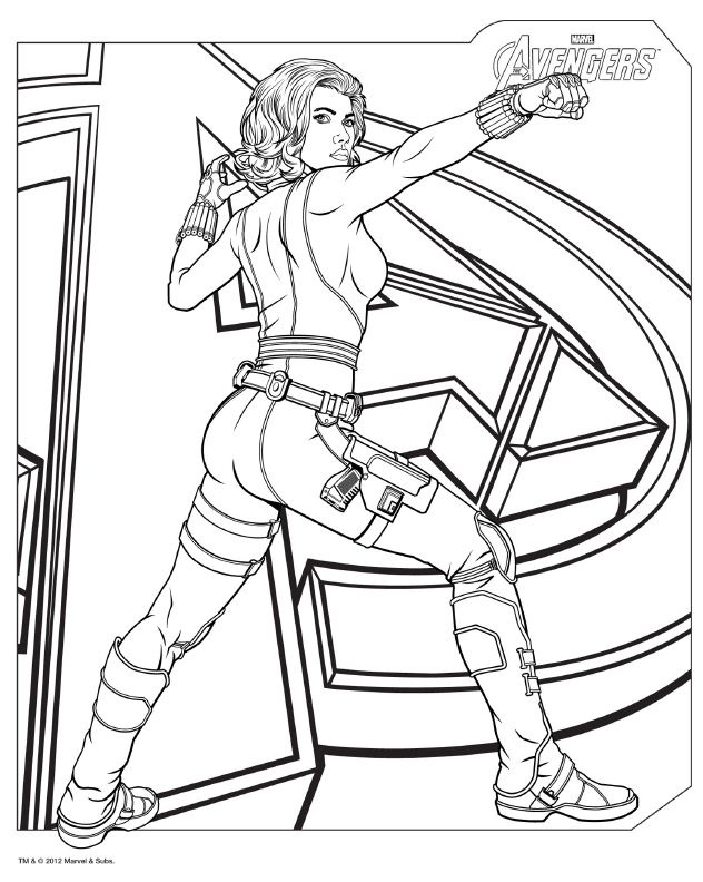 Avengers Coloring Pages - Black Widow