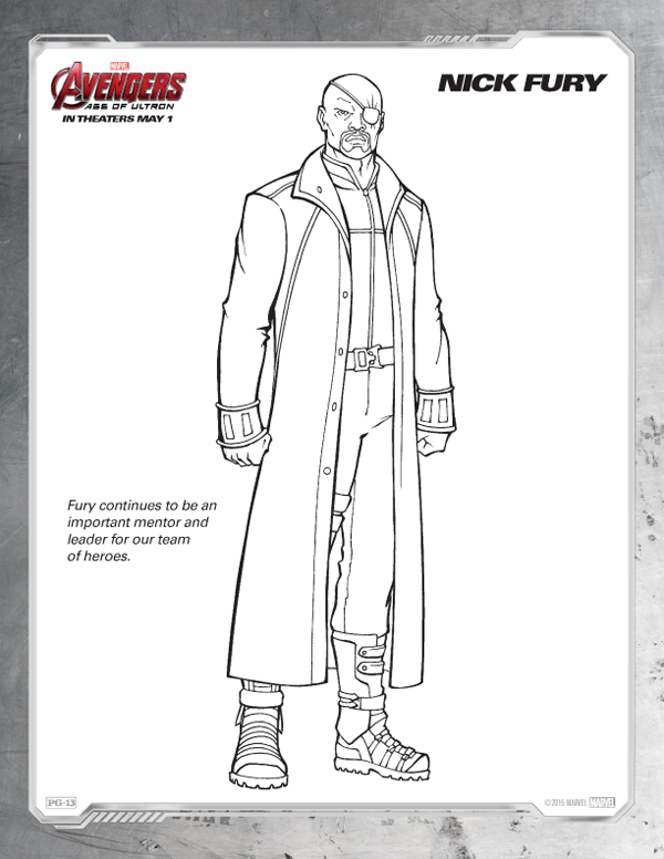 Avengers Coloring Pages - Free Nick Fury