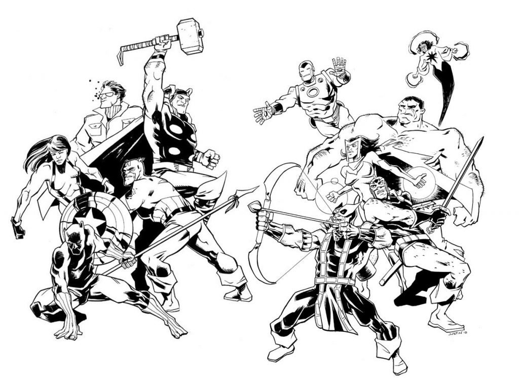 Avengers Fighting Coloring Page