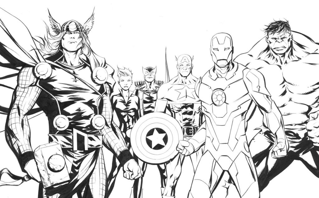 Cool Superhero Coloring Page - Avengers