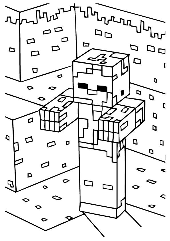 Minecraft City Coloring Page