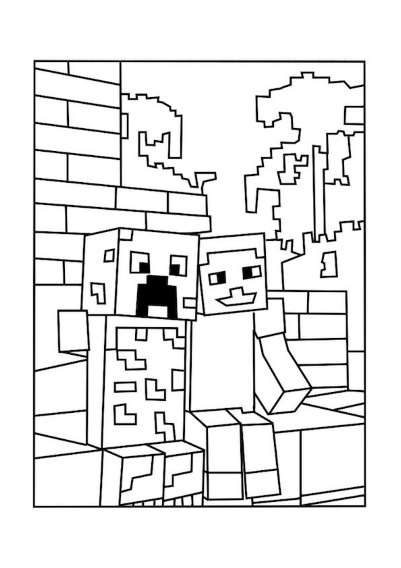 Minecraft Friends Coloring Page