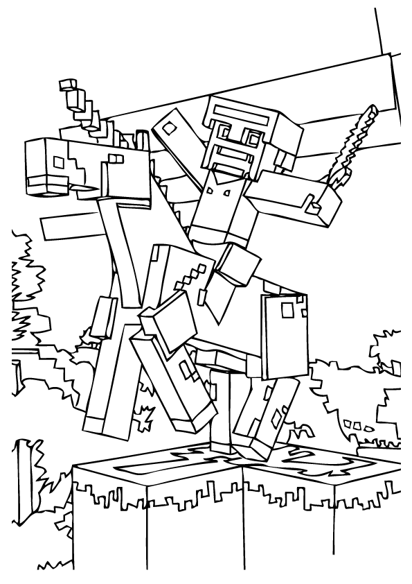 Minecraft Man On Horse Coloring Page