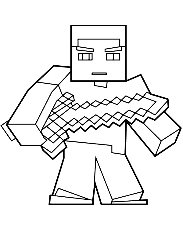 Minecraft Man With Sword Coloring Page