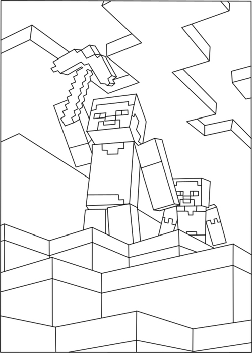 Minecraft Story Scene Coloring Page