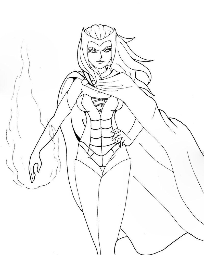 Scarlet Witch Avengers Coloring Page