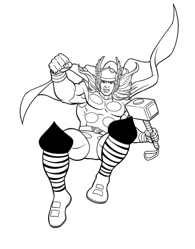 Thor Avengers Coloring Page