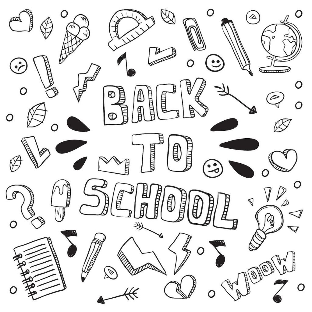 Back to School Collage Coloring Pages
