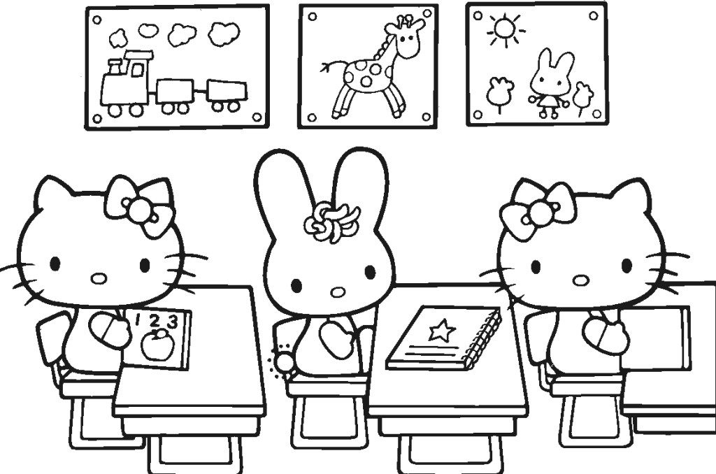 Back to School Coloring Pages - Hello Kitty