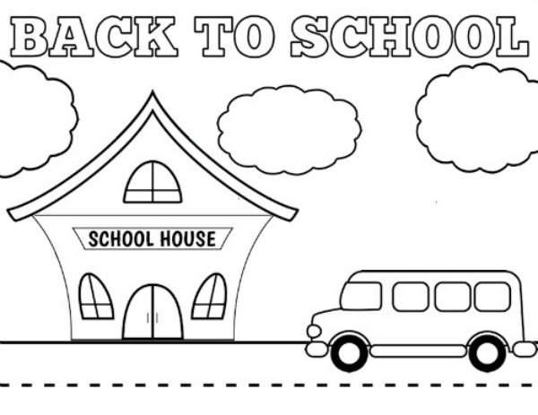 Back to School Coloring Pages - School House and Bus