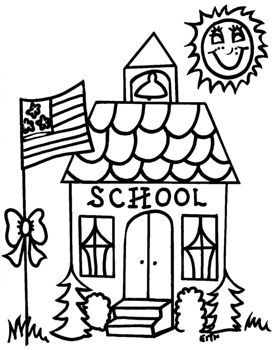 Back to school coloring pages schoolhouse