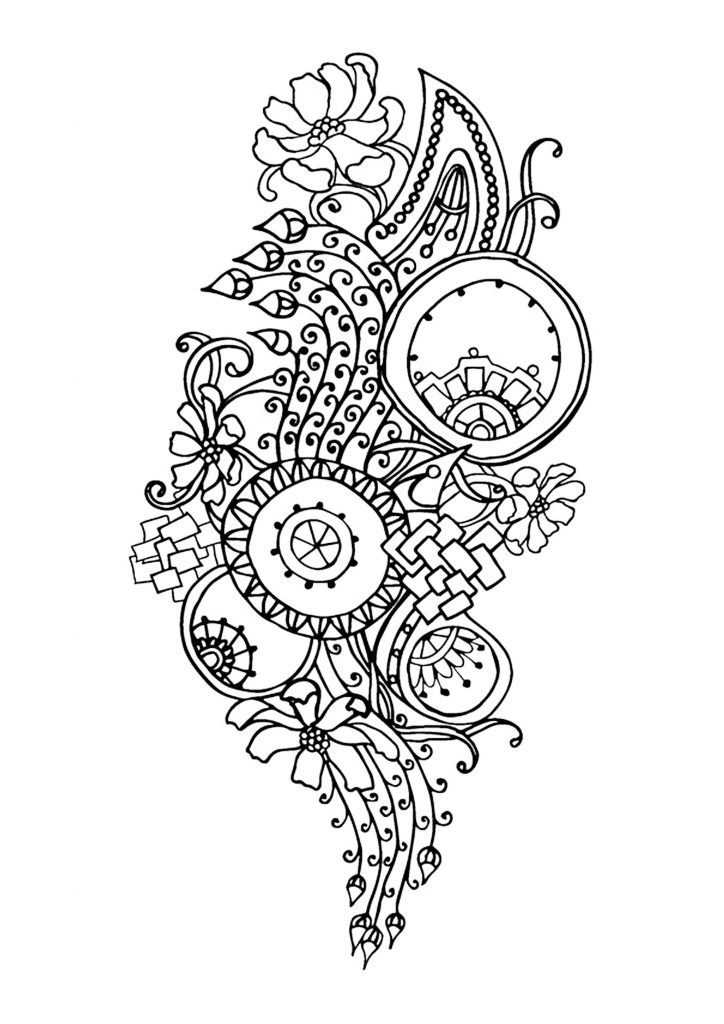 Complex Flower Coloring Pages for Adults Free Printable