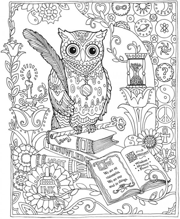 Complex Owl Coloring Pages for Adults Printable